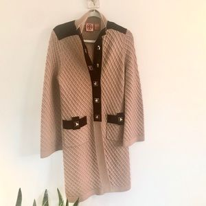 Tory Burch Long Cable & Suede Sweater Jacket